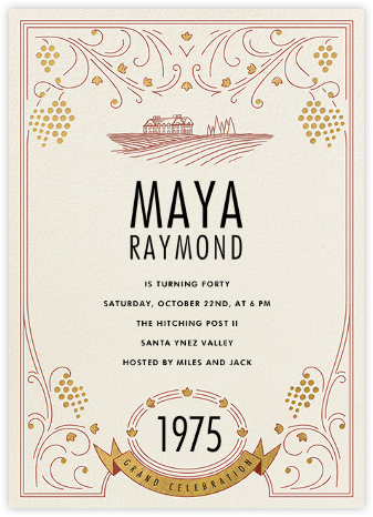 Fine Wine - Paperless Post - Milestone Birthday Invitations