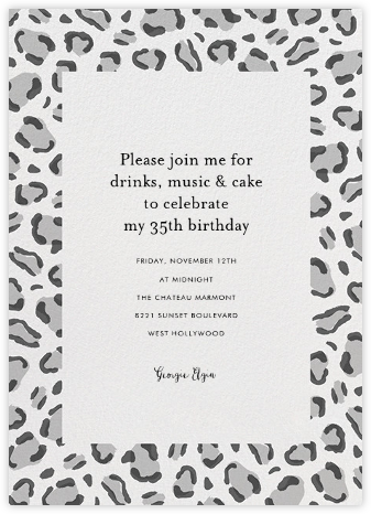 Leopard Spots - Black - Paperless Post - Adult Birthday Invitations
