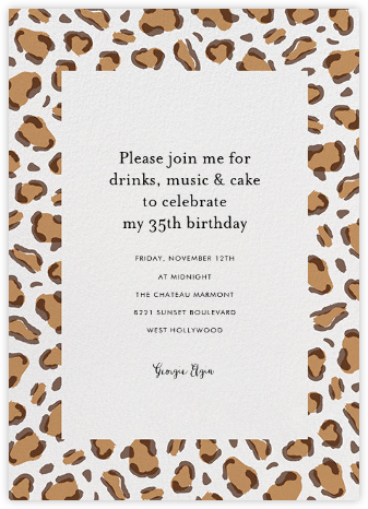 Leopard Spots - Brown  - Paperless Post - Adult Birthday Invitations