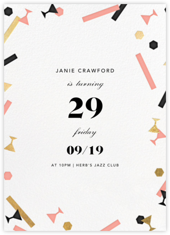 Confettitini - Paperless Post - Adult Birthday Invitations