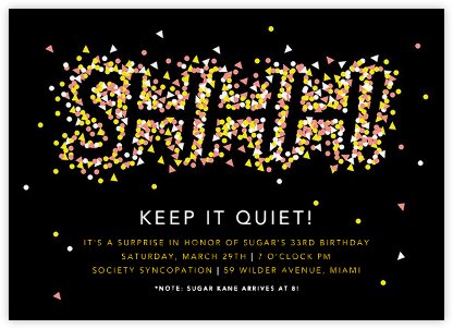 Surprise party invitations online at Paperless Post – Shhh Surprise Party Invitations