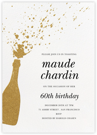 Champers - Gold - Paperless Post - Adult Birthday Invitations