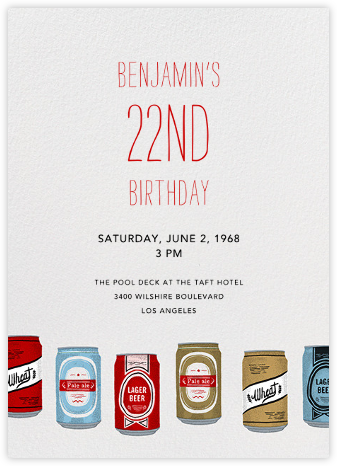 Silk Screen Beers - Paperless Post - Adult Birthday Invitations