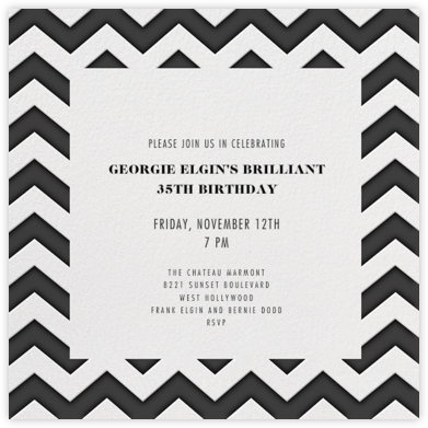Chevrons (Square) - Black - Paperless Post - Adult Birthday Invitations
