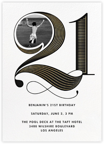 Pinstripe Numerals (Twenty-One) - Paperless Post - Milestone birthday invitations