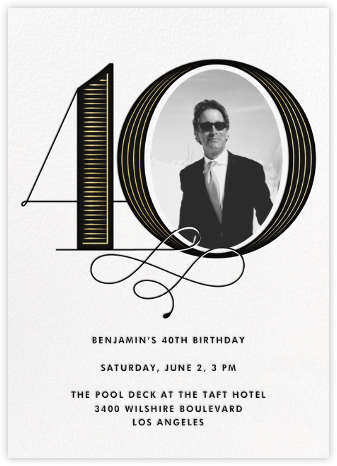Pinstripe Numerals (Forty) - Paperless Post - Milestone Birthday Invitations