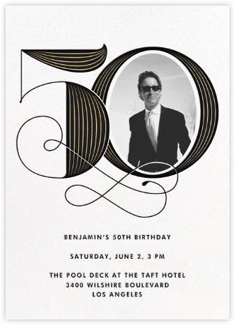 Pinstripe Numerals (Fifty) - Paperless Post - Milestone birthday invitations