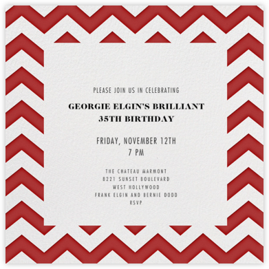 Chevrons (Square) - Red - Paperless Post - Adult Birthday Invitations