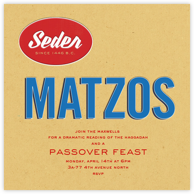 Box o' Matzo - Paperless Post - Passover invitations