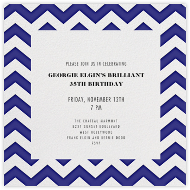 Chevrons (Square) - Blue - Paperless Post - Adult Birthday Invitations
