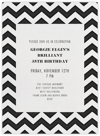 Chevrons (Tall) - Black - Paperless Post - Adult Birthday Invitations