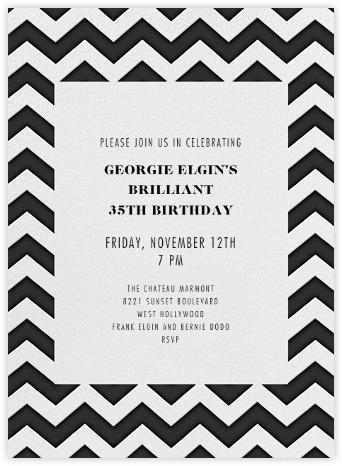Chevrons (Tall) - Black - Paperless Post - Adult birthday invitations