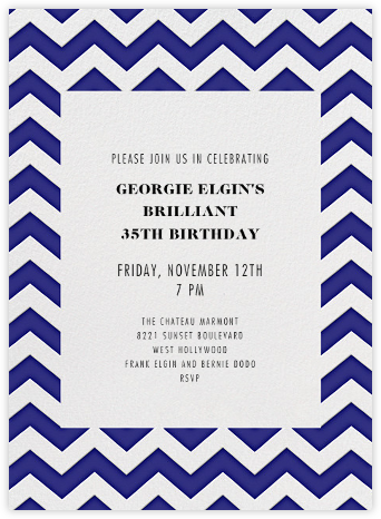 Chevrons (Tall) - Blue - Paperless Post - Adult Birthday Invitations