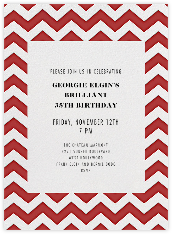 Chevrons (Tall) - Red - Paperless Post - Adult Birthday Invitations