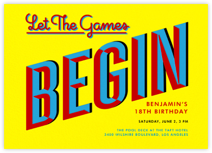 Let the Games Begin - Yellow - Paperless Post - Adult Birthday Invitations