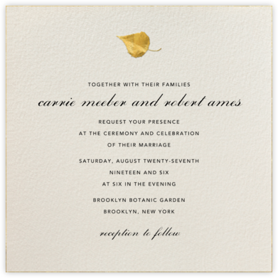 Gold Leaf - Cream - Paperless Post - Wedding Invitations