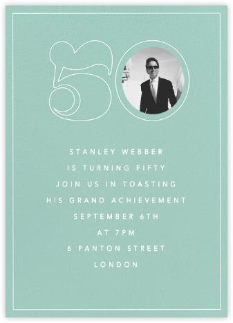 Milestone Portrait (Fifty) - Celadon - Paperless Post - 50th Birthday Invitations