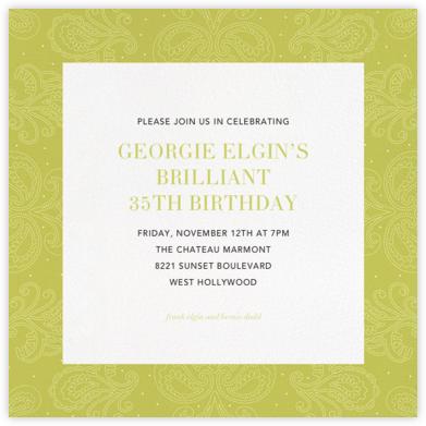 Amalfi - Chartreuse - Paperless Post - Adult Birthday Invitations