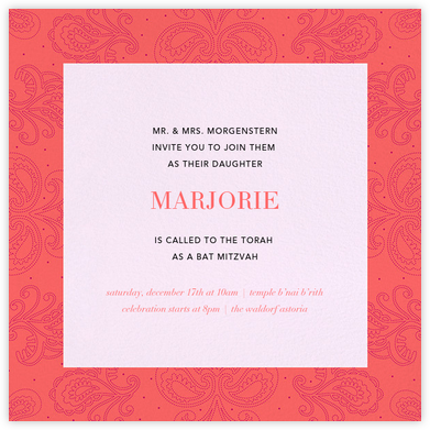 Amalfi - Coral - Paperless Post - Bar and Bat Mitzvah Invitations