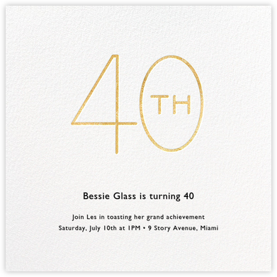 Decade (Forty) - Gold - Paperless Post - Milestone birthday invitations