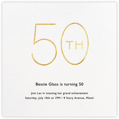 Decade (Fifty) - Gold - Paperless Post - Milestone birthday invitations