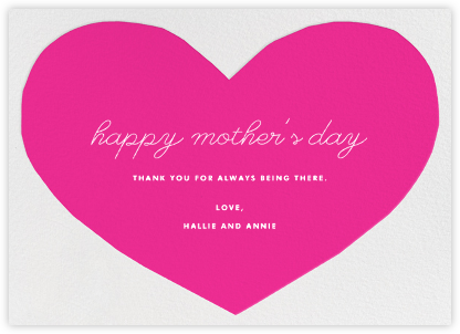 Heart - Pink - The Indigo Bunting - Mother's Day Cards