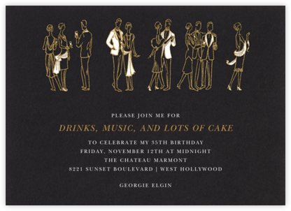 Deco Party - Black - Paperless Post - Adult birthday invitations