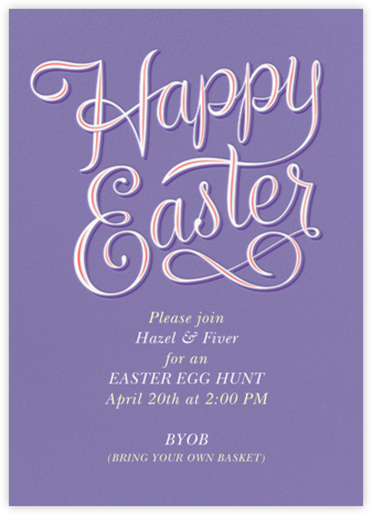 Happy Easter - Lavender - Paperless Post - Easter Invitations