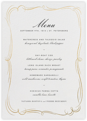 Plume (Menu) - White/Gold - Paperless Post - Wedding menus and programs - available in paper