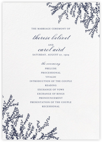 Forsythia (Program) - Navy - Paperless Post - Wedding menus and programs - available in paper