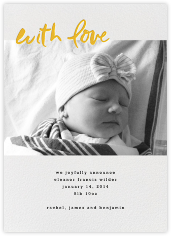 With Love From Baby (Tall) - Mango - Linda and Harriett - Birth Announcements