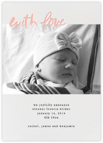 With Love From Baby (Tall) - Pink - Linda and Harriett - Announcements