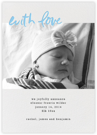 With Love From Baby (Tall) - Blue - Linda and Harriett - Birth Announcements