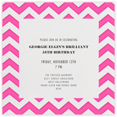 Chevrons (Square) - Bright Pink - Paperless Post - Adult birthday invitations