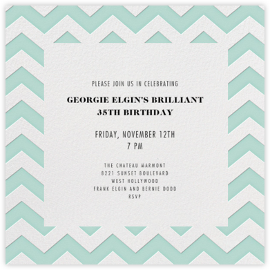 Chevrons (Square) - Celedon - Paperless Post - Adult Birthday Invitations