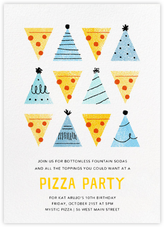 Pizza Pizza - Blue - Paperless Post - Birthday invitations