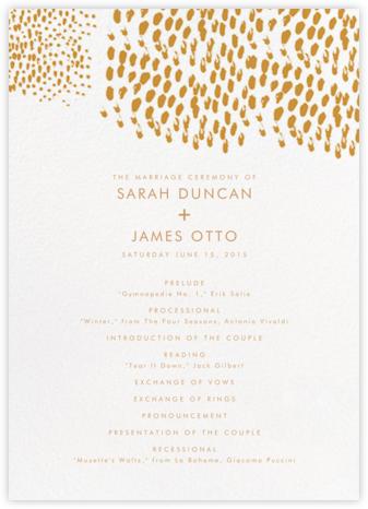 Panthera (Program) - Mango - Linda and Harriett - Wedding menus and programs - available in paper