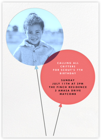 Balloon Pops - Paperless Post - First Birthday Invitations
