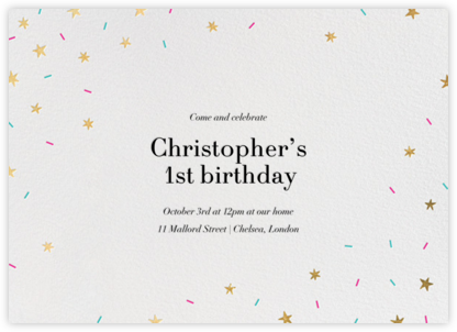 Starfetti - Gold - Paperless Post - First Birthday Invitations