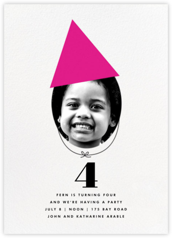 New Party Hat (Photo) - Pink - The Indigo Bunting - First Birthday Invitations