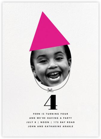 New Party Hat (Photo) - Pink - The Indigo Bunting - Birthday invitations