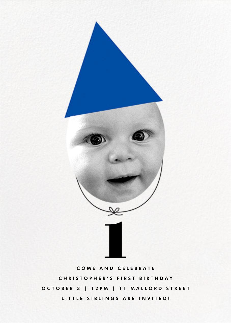New Party Hat (Photo) - Blue - The Indigo Bunting - Kids' birthday invitations