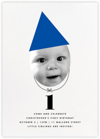 New Party Hat (Photo) - Blue - The Indigo Bunting - Kids' birthday invitations