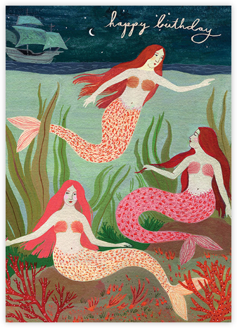 Mermaids (Becca Stadtlander) - Red Cap Cards - Birthday