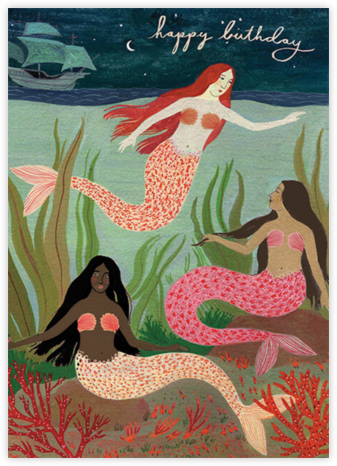 Mermaids (Becca Stadtlander) - Red Cap Cards - Birthday Cards for Her