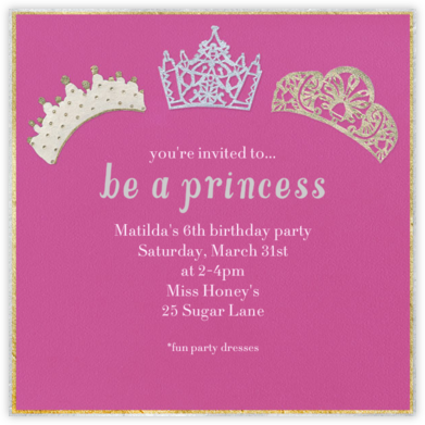 Tiaras - Paperless Post - Kids' birthday invitations