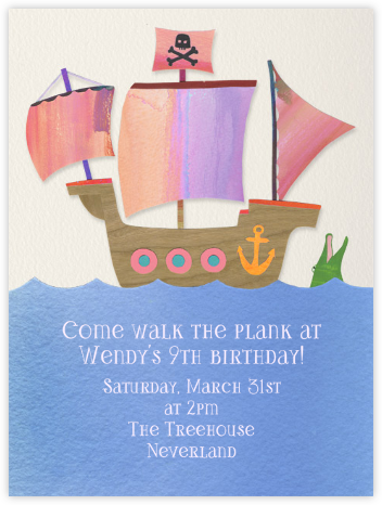 Kid's Ship - Pink - Paperless Post - Kids' Birthday Invitations
