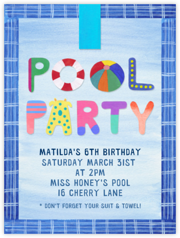 Pool Party - Paperless Post - Online Kids' Birthday Invitations