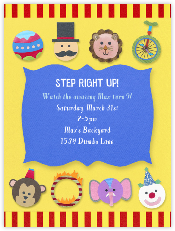 Kid's Circus - Paperless Post - Online Kids' Birthday Invitations