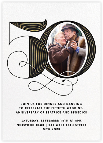 Pinstripe Numerals (Fifty) - Paperless Post - Celebration invitations